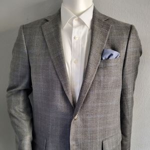 Hart Schaffner & Marx Grey & Blue Windowpane 44L